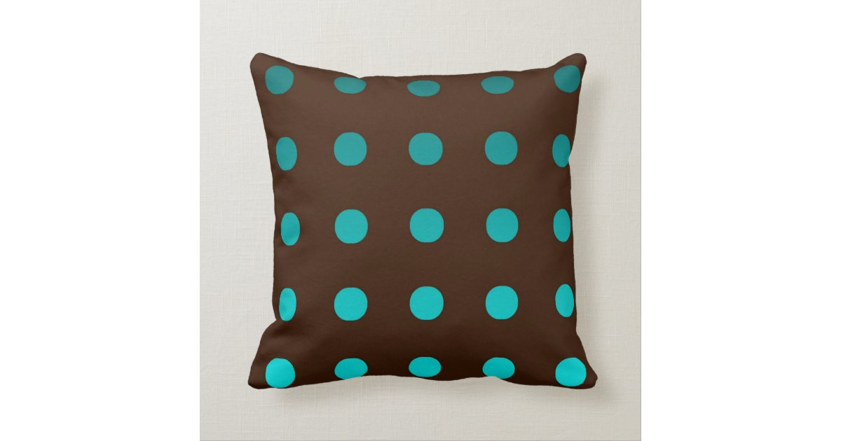 Brown Throw Pillow with Turquoise Dots Zazzle