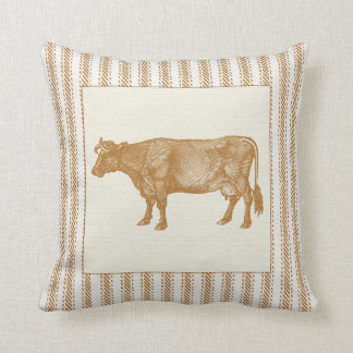 Brown Ticking Effect with Vintage Cow Throw Pillow