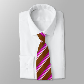 Brown Tie With Pinkish Stripes