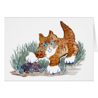 Brown Tiger Kitten and turtle Card