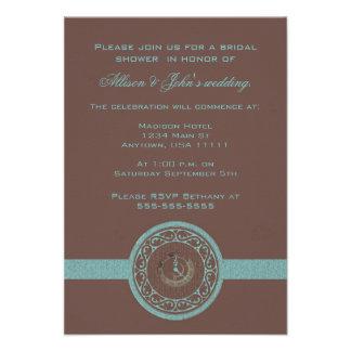 Brown Time Medallion Bridal Shower Invitation