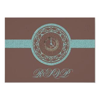 Brown Time Medallion RSVP Card