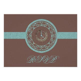 Brown Time Medallion RSVP Card Invites