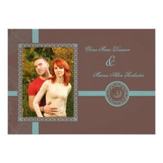 Brown Time Medallion Wedding Invitation