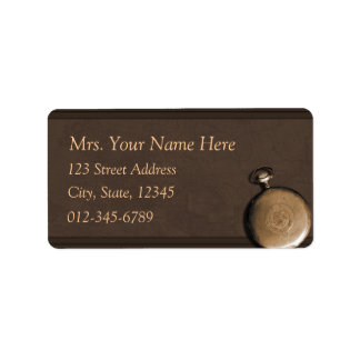 Brown Timepiece Address Lables Label