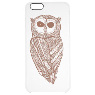 Brown Tones Line Drawing Owl Clear iPhone 6 Plus Case