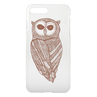 Brown Tones Line Drawing Owl iPhone 7 Plus Case