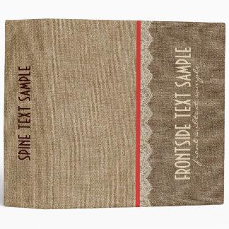 Brown Tones Linen Burlap Fabric Look 3 Ring Binders