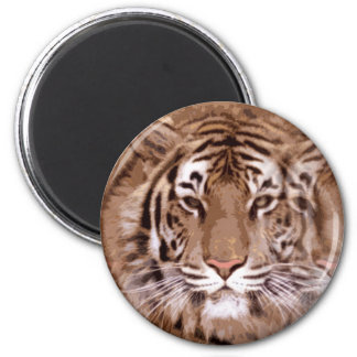 Brown Tones Tiger Face 2 Inch Round Magnet