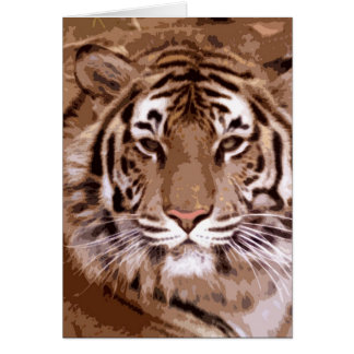 Brown Tones Tiger Face Card