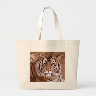 Brown Tones Tiger Face Jumbo Tote Bag