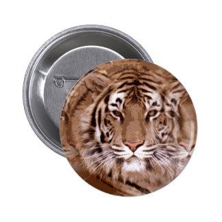 Brown Tones Tiger Face Pinback Button