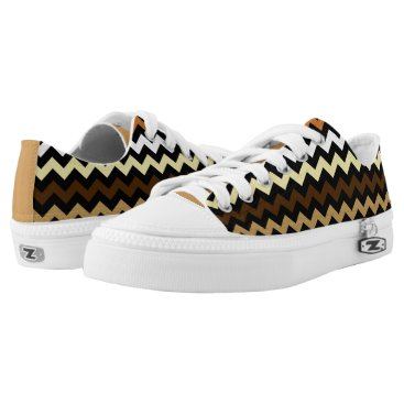 Beach Themed Brown Tones Zig Zag Chevron Design Sneakers