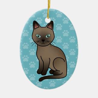 Brown Tonkinese Cat Ceramic Ornament