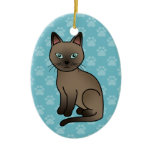 Brown Tonkinese Cat Christmas Tree Ornament