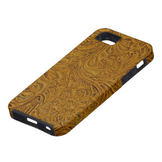Brown Tooled Leather Look Cowboy Country iPhone 5 Covers