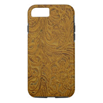 Brown Tooled Leather Look Cowboy Country iPhone 8/7 Case