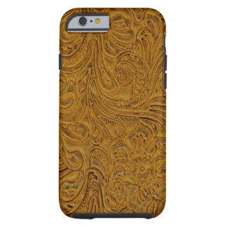 Brown Tooled Leather Look Cowboy Country iPhone 6 Case