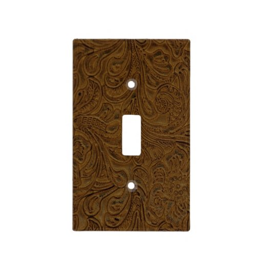 Brown Tooled Leather Look (Faux) Western Light Switch