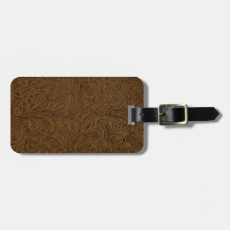Brown Tooled Leather Look Luggage Tag