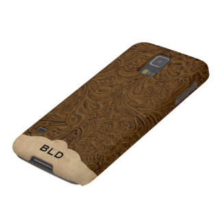 Brown Tooled Leather Look Personalized Galaxy S5 Case