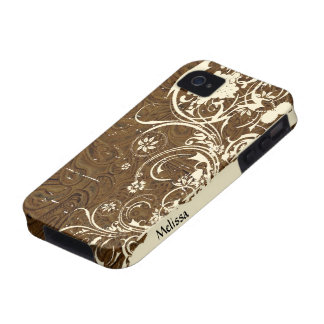 Brown Tooled Leather Look Shabby Cream Lace iPhone 4/4S Cases