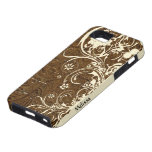 Brown Tooled Leather Look Shabby Cream Lace iPhone 5 Cover