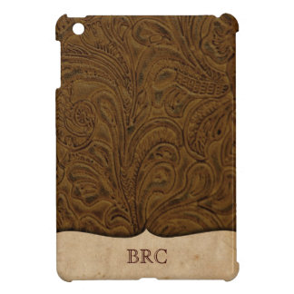 Brown Tooled Leather Look Western Personalized iPad Mini Covers