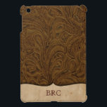 """Brown Tooled Leather Look Western Personalized iPad Mini Cover<br><div class=""""desc"""">This fun iPad Mini case features backgrounds of brown tooled leather and a parchment label for name or initials (all decorative elements are PRINTED on the case). Great for cowboys or anyone who appreciates country western flair.</div>"""