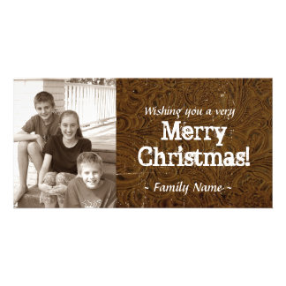 Brown Tooled Leather Photo Christmas Card Picture Card