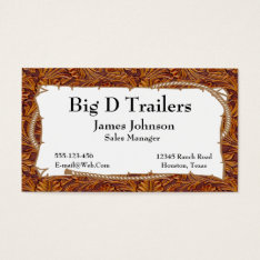 Brown Tooled Leather Print With Rope Sign Business Card at Zazzle
