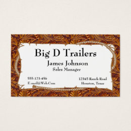 Brown Tooled Leather Print With Rope Sign Business Card