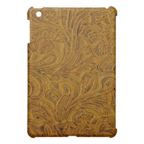 Brown Tooled Leather Style  iPad Mini Case
