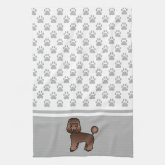 Brown Toy Poodle Dog With Dog Paws Pattern Hand Towel