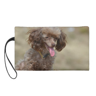 Brown Toy Poodle Wristlet Purse