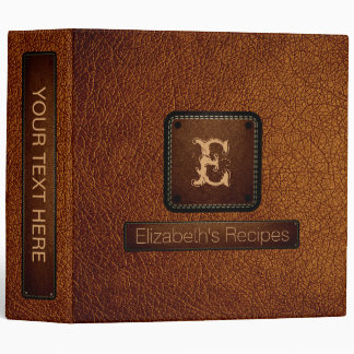 Brown (traditional) Leather Elegant Monogram 3 Ring Binder