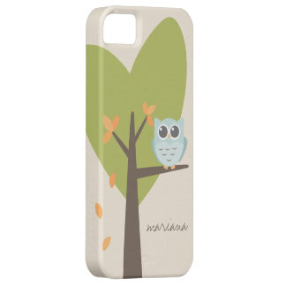 Brown Tree Branch Leaves Custom Name Blue Owl iPhone 5 Case