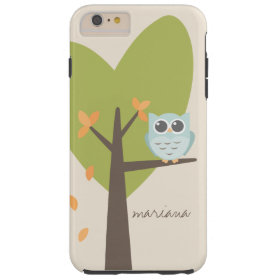 Brown Tree Branch Leaves Custom Name Blue Owl Tough iPhone 6 Plus Case
