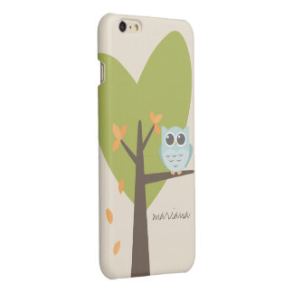 Brown Tree Branch Leaves Custom Name Blue Owl Glossy iPhone 6 Plus Case