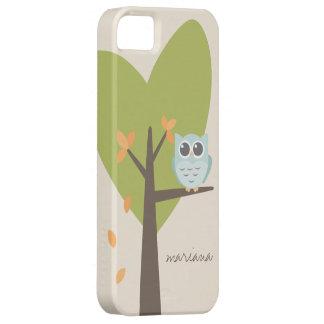 Brown Tree Branch Leaves Custom Name Blue Owl iPhone 5 Covers