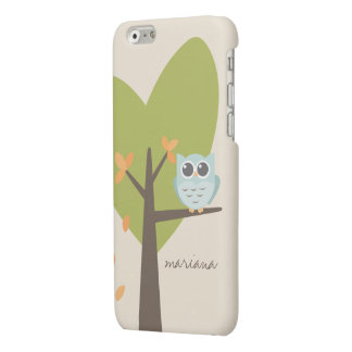 Brown Tree Branch Leaves Custom Name Blue Owl Matte iPhone 6 Case