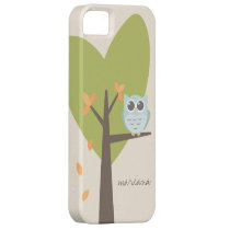 Brown Tree Branch Leaves Custom Name Blue Owl iPhone SE/5/5s Case
