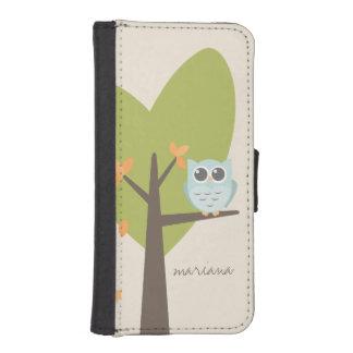 Brown Tree Branch Leaves Custom Name Blue Owl iPhone SE/5/5s Wallet
