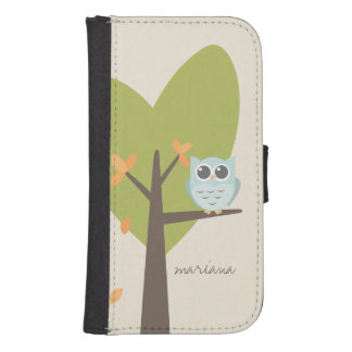 Brown Tree Branch Leaves Custom Name Blue Owl Phone Wallet