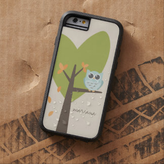 Brown Tree Branch Leaves Custom Name Blue Owl Tough Xtreme iPhone 6 Case