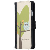 Brown Tree Branch Leaves Custom Name Blue Owl Wallet Phone Case For iPhone 6/6s