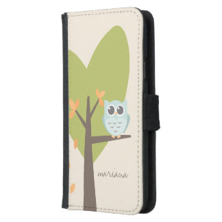 Brown Tree Branch Leaves Custom Name Blue Owl Wallet Phone Case For Samsung Galaxy S5