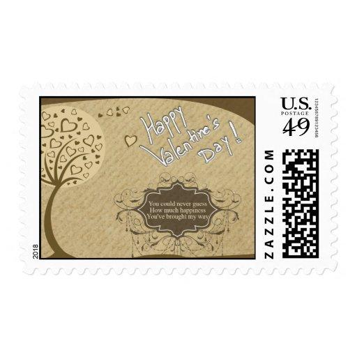 Brown Tree Design Valentine's Day Postage