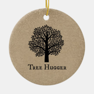 Brown Tree Hugger Double-Sided Ceramic Round Christmas Ornament