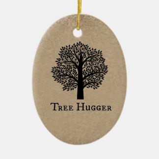 Brown Tree Hugger Christmas Ornament